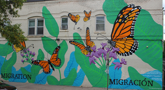 Monarch butterfly mural