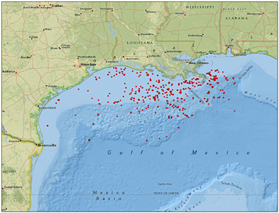 Obama Administration Permitted 1,200 Offs Fracks in Gulf ... on ports in gulf of mexico map, ships in gulf of mexico map, buoys in gulf of mexico map,