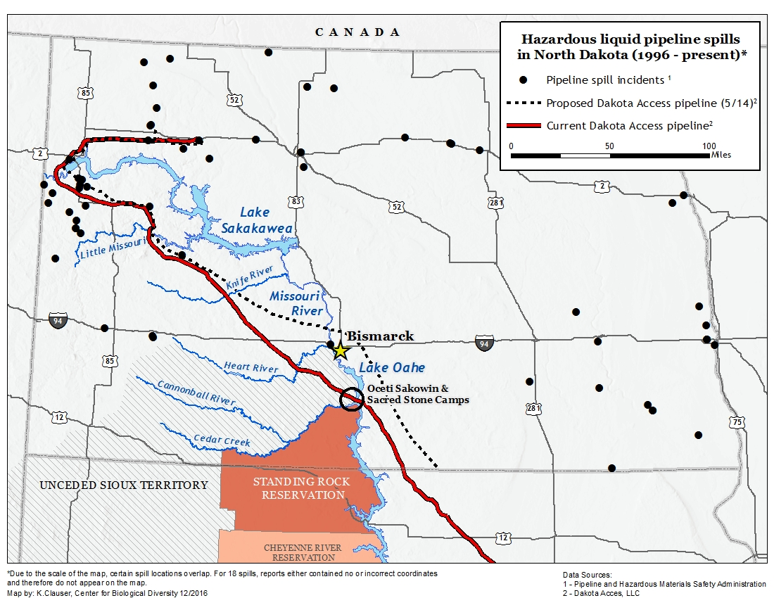 hazardous liquid pipeline spills in north dakota 1996 present map by kara clauser center for biological diversity