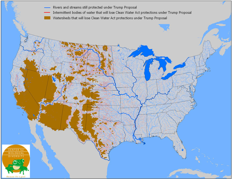 Map of water bodies and watersheds