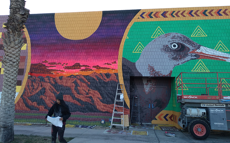Yuma endangered species mural, in progress