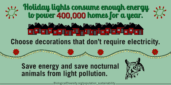 Holiday lights consume enough energy to power 400,000 homes for a year. Choose decorations that don�t require electricity. Save energy and save nocturnal animals from light pollution.