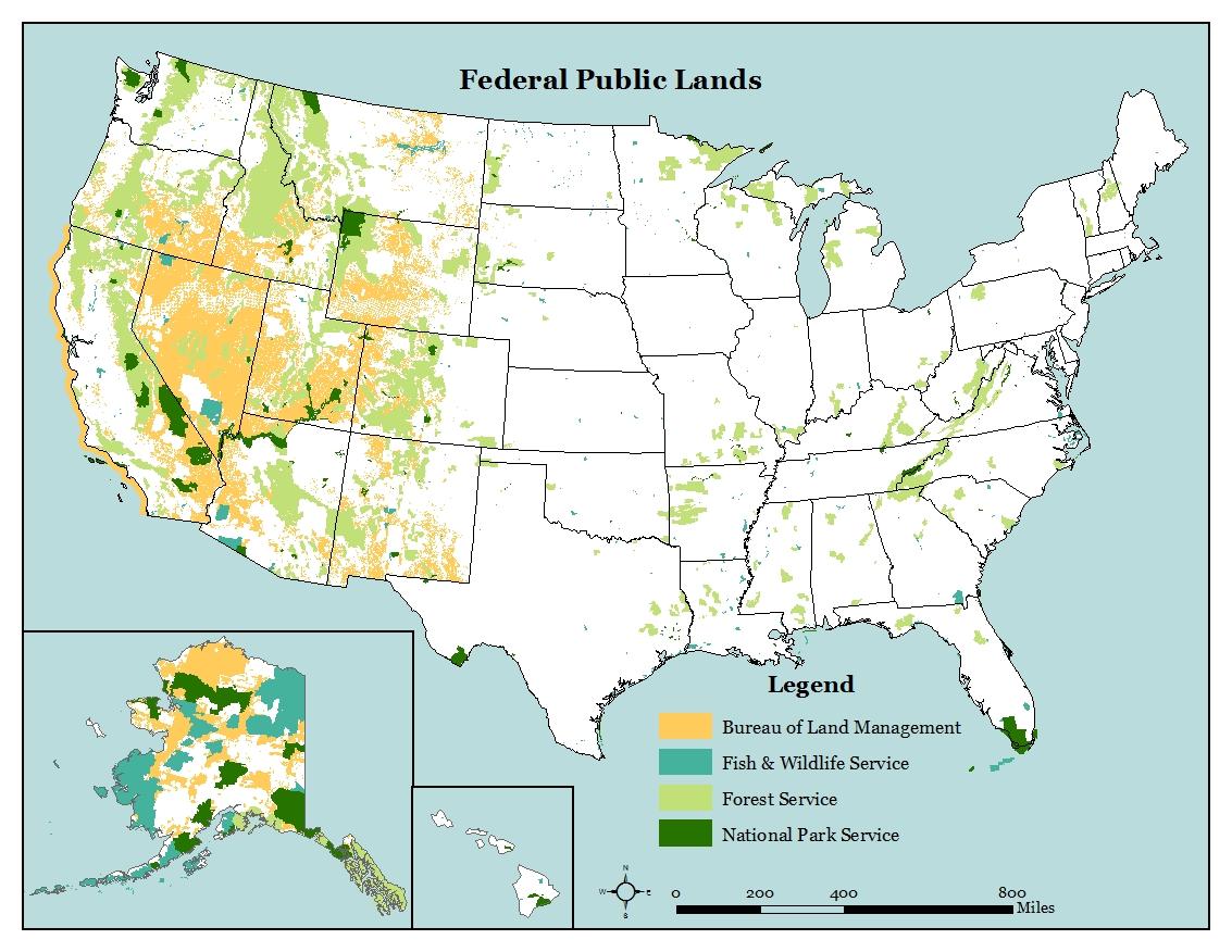Map Of Public Land In The Us U.S. Public Lands