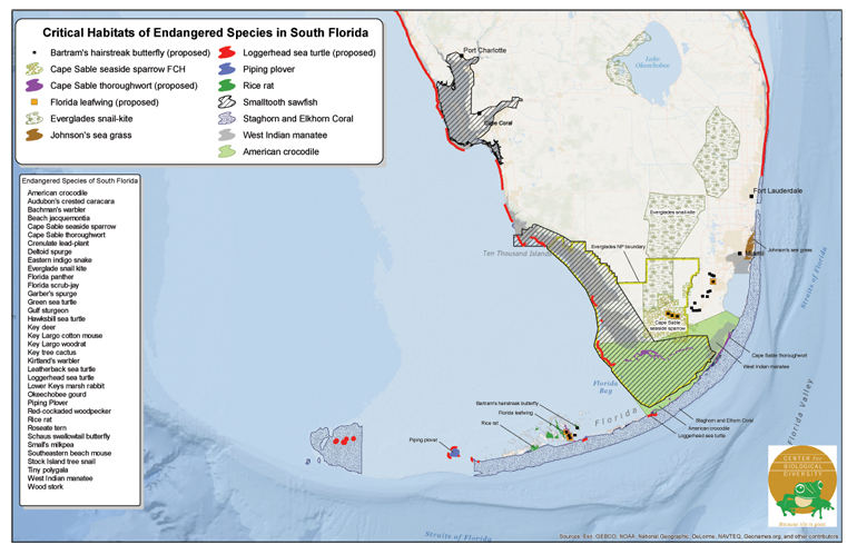 Critical Habitat Areas for Endangered Species in South Florida on